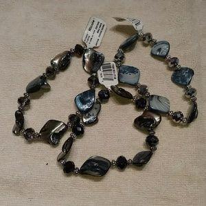 3 blue stone looking bracelets